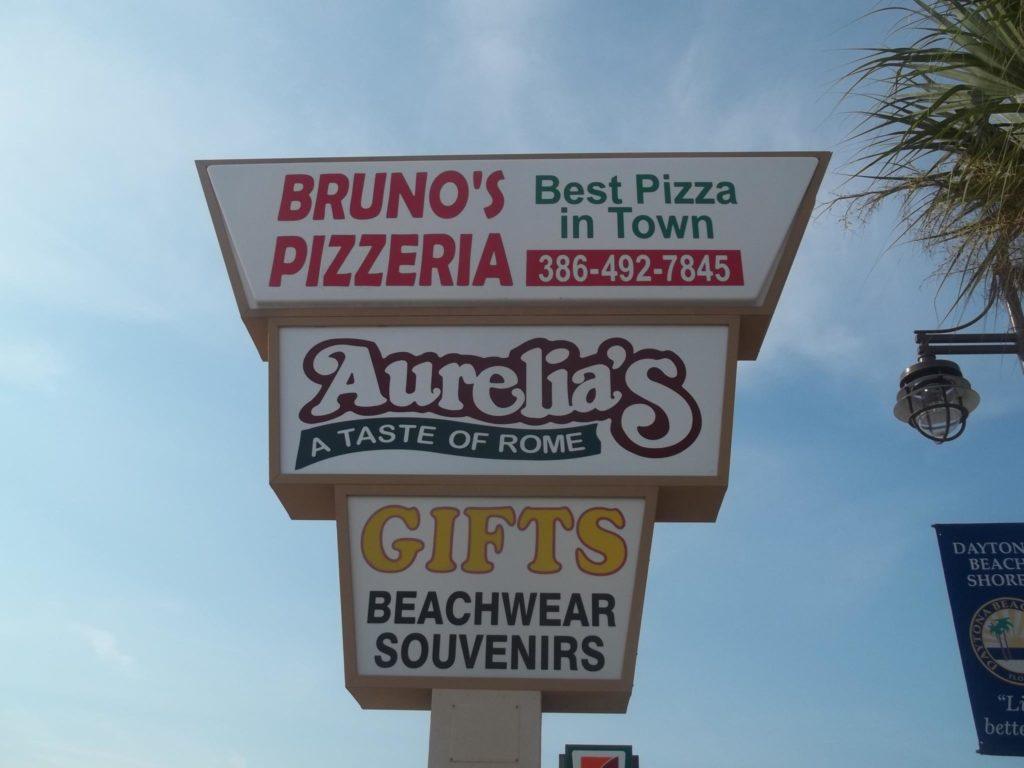 Bruno's Pizzeria sign in Daytona Beach FL