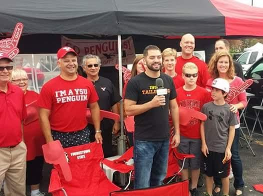 Ryan Alessio interviewing tailgaters for Inside Tailgating