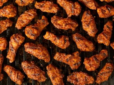 "Beer-barbecued wings from ""Barbecue! Bible"""