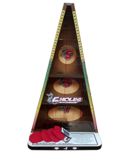 Darts meets cornhole in new tailgate game inside tailgating this creative new game combines the skills scoring and setup of darts and cornhole players throw four bean bags to three holes in an a shaped target 11 solutioingenieria Gallery