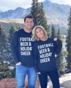 football beer holiday cheer couple tshirt