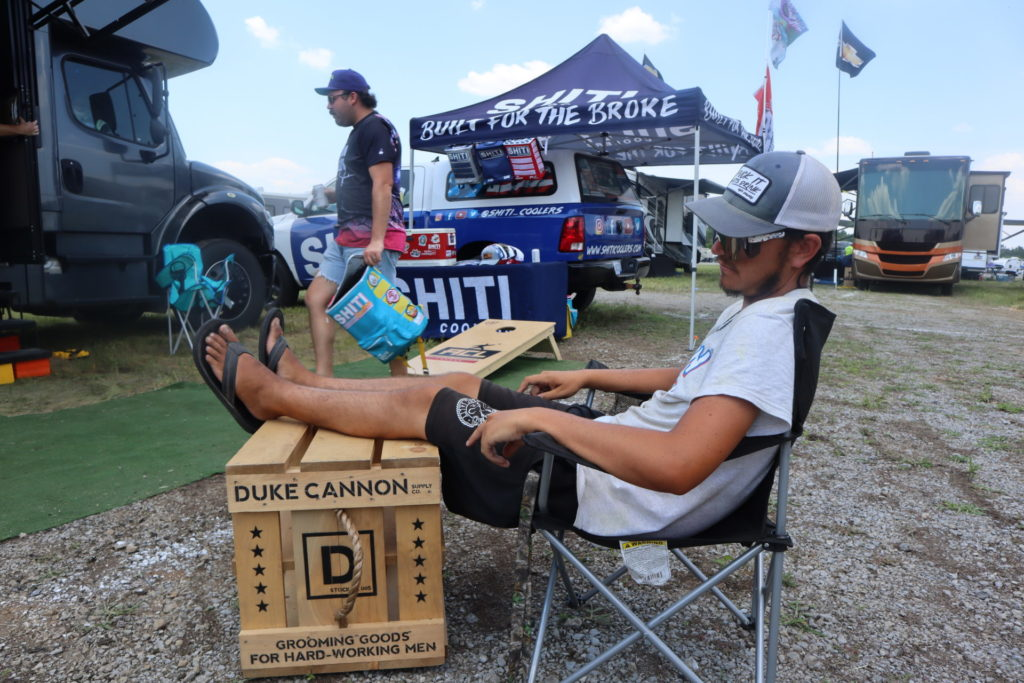 Racetrack Rob napping NSS tailgate